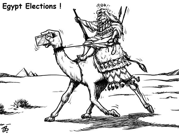 Emad Hajjaj - Jordan - Egypt elections - English - legislative election mubarak camel democracy final round Muslim Brotherhood voters control fake violence middle east candidates Peoples Assembly balloting campaign National Democratic Party
