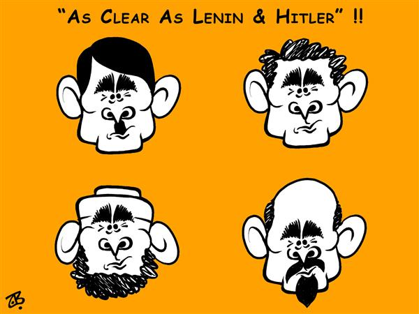 Emad Hajjaj - Jordan - hitler lenin  bush - English - as clear as hitler lenin ben laden w bush al qaeda war terror dictators same difference faces washington speech middle east islam nazi hair cut stupid hajjaj