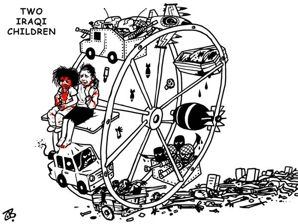 Emad Hajjaj - Jordan - two iraqi children - English - iraq child girl cry human suffering war wheel cycle violence sectarian killing civil occupation usa car bomb victims innocent blood baghdad bodies terror games agony tragedy image picture hajjaj