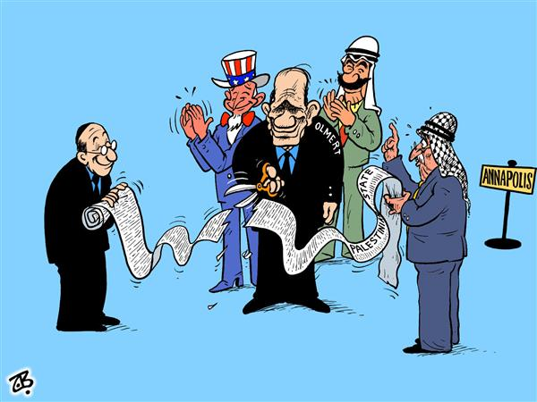 Emad Hajjaj - Jordan - annapolis peace talks - English - annapolis, peace, talks, olmert, abbas, arabs, bush, uncle sam, , opening, bill of rights, palestinian, state , clab, middle east, cut, ribbon, paper, hajjaj