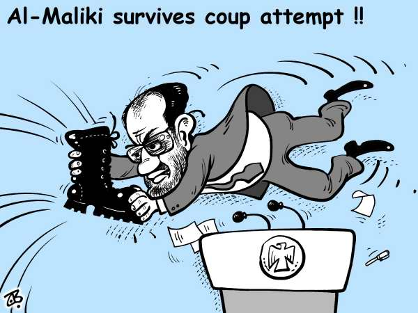 Emad Hajjaj - Jordan - maliki catch - English - maliki,iraq,government,bush,shoe,throw,catch,coup attempt,baghdad,usa,baath,arrests,boots,middle east,hajjaj