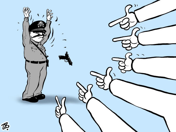 Emad Hajjaj - Jordan - Fall of a dictator - English - fall of a dictator,egypt,mubarak,revolution,finger pointing,gun,let go,surrender,people,power,middle east,hands,youth,hajjaj
