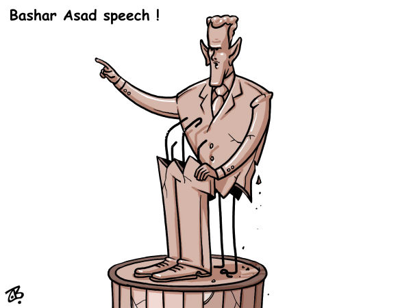 94531 600 Bashar Asad speech cartoons