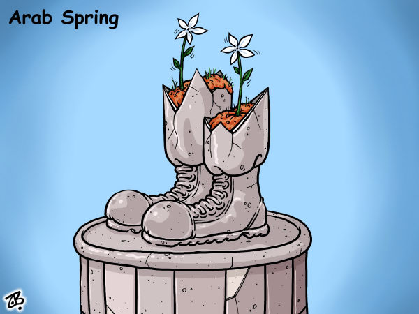 Emad Hajjaj - Jordan - Arab spring - English - arab spring,revolution,syria,bashar asad,statue fall,vase,jasmine,flower power,dictator,middle east,people,uprising,hope,victory,hajjaj