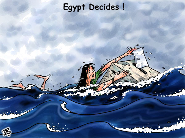 Emad Hajjaj - Jordan - Egypt decides - English - Egyptian elections,arab spring revolution,military,dictator,Mosheer,Tantawi,democracy,drawn,woman,ballot box,sea,storm,midan tahrir,egypt,middle east,hajjaj