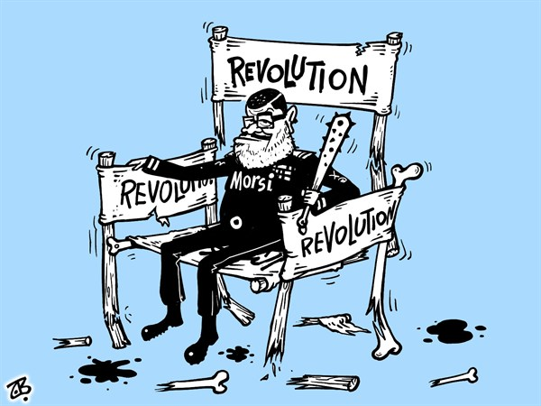 Emad Hajjaj - Jordan - Morsi of Egypt - English - president Morsi,chair,dictator,Mubarak,democracy,banners,Tahrir,Muslim Brothers,power,justice,judges,martial laws,absolute powers,Middle East,Emad Hajjaj,