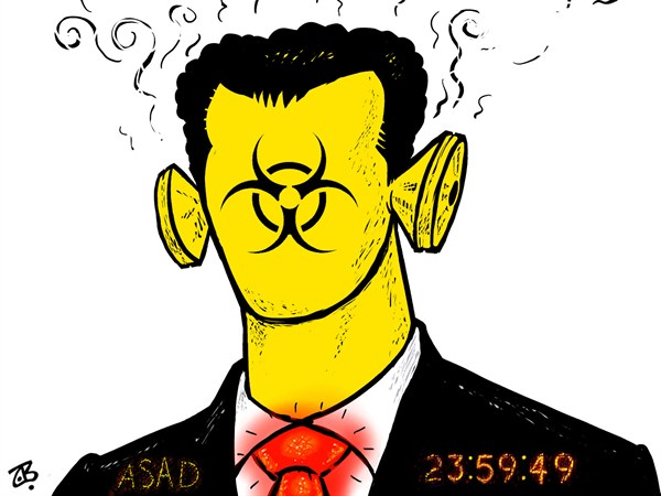 Emad Hajjaj - Jordan - Bashar the chemical  - English - Bashar Al Asad,count down,WMD,Syria,Syrian revolution,Damascus,Free Army,Chemical weapons,Obama,Face of Bashar Assad,Arab spring,portrait,hazard sign,warning,Middle East,Emad Hajjaj,