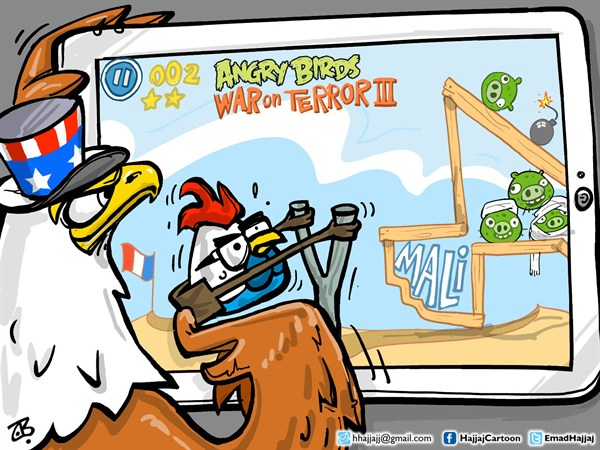 Emad Hajjaj - Jordan - Angry Birds in Mali - English - USA,France,Mali,radical Islamic groups,war,Africa,Algeria,angry birds,french rooster,American Eagle,iPad,games,application,tab,Obama,Hollande,Mali,president,desert,Emad Hajjaj,middle east,
