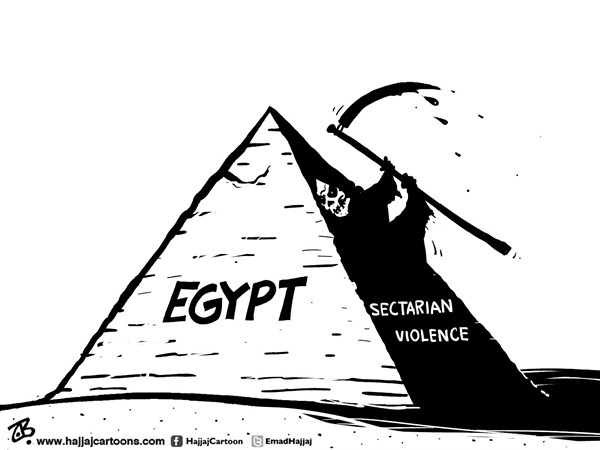 Emad Hajjaj - Jordan - Egypt violence - English - Egypt,sectarian violence,Copts,christians,muslims,riots,killings,revolution,pyramid,shade,dark side,ugly face,death,muslim brothers,Morsi,Emad Hajjaj,Middle east,