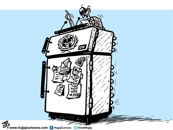 Emad Hajjaj - Jordan - UN speeches - English - UN,UN general assembly,refrigerator stand,syria war,stop war calls,magnets notes,sticky notes,peace,wmd,obama,putin,rohani,netanyahu,bashar,freeze,arab spring,egypt,tunis,war crimes,chemical weapons,Emad Hajjaj