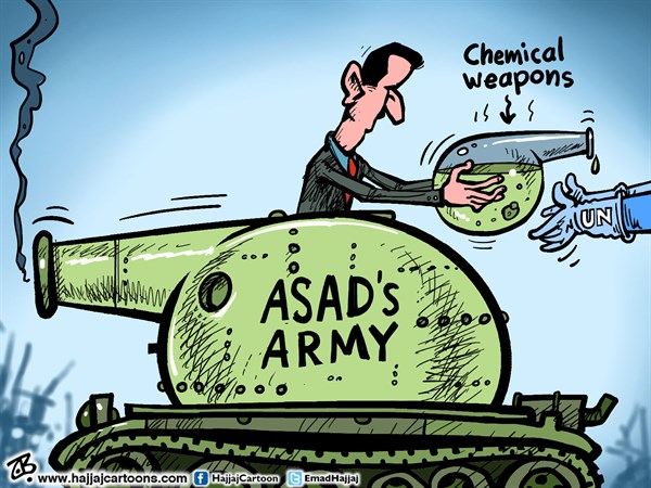 Asad's Chemical weapons © Emad Hajjaj,Jordan,Bashar Asad,hand over WMDs,tank,chemical massacre,UNSC,UN resolution on Syria,funnel,middle east,Arab spring,tank,UN inspectors,damascus,Syrian army,Emad Hajjaj,