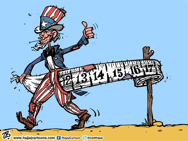 Emad Hajjaj - Jordan - US debt ceiling  - English - US debt ceiling,US debt crisis,empty pockets,uncle sam,ruler,economy,world economy,obama,congress,emad hajjaj cartoon,