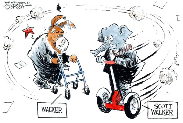 Scott Walker © Jeff Koterba,Omaha World Herald, NE,scott walker,recall,wisconsin,governor,union