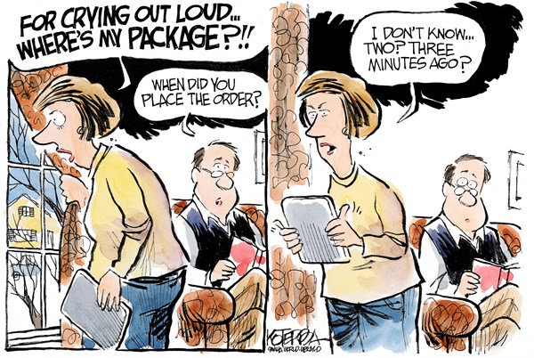 Wheres My Package © Jeff Koterba,Omaha World Herald, NE,ups,delivery,package,shopping,online,holiday-shopping-2013