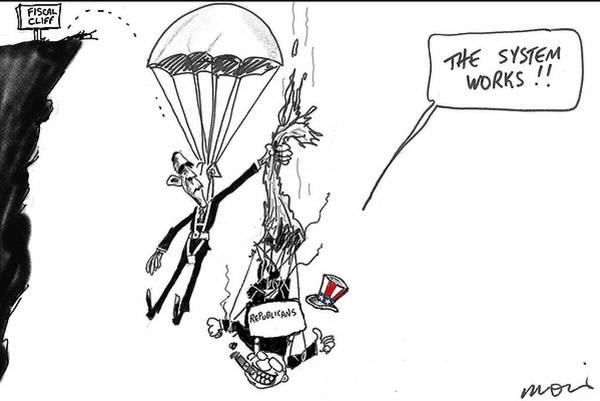 Fiscal Cliff © Moir,The Morning Herald, Sydney Australia,obama,fiscal cliff,republicans,system,works,gop-fiscal-cliff
