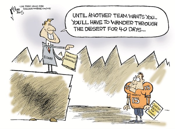 Team for Tebow © Clay Jones,The Freelance Star, Fredericksburg,tebow,team,sports,football,manning,player