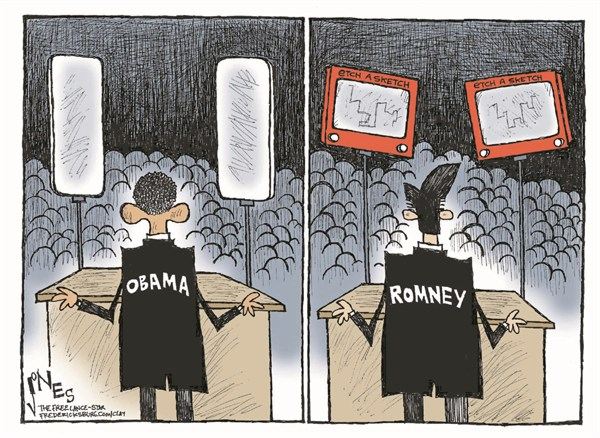 Etch A Sketch © Clay Jones,The Freelance Star, Fredericksburg,romney,etch a sketch,obama,teleprompter,campaign,election