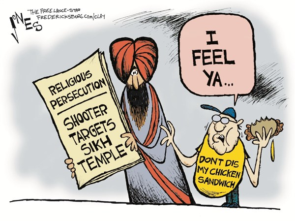 Religious Persecution © Clay Jones,The Freelance Star, Fredericksburg,sikh,violence,persecution,killing,guns,dead,shooter,sikh-shootings