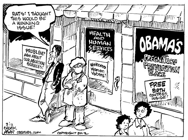 Winning Issue © Chuck Asay,Colorado,obama,pregnancy,services,birth control,women,campaign