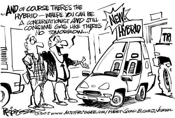 Milt Priggee - Puget Sound Business Journal - Hybrids - English - hybrid gas prices conservationists cars