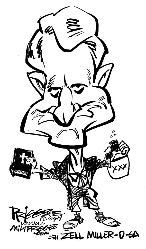 Milt Priggee - Puget Sound Business Journal - Miller caricature - English - zell miller caricature democrat  nut