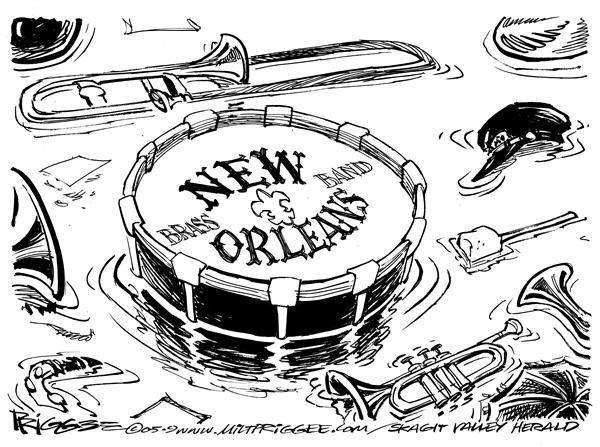 Milt Priggee - Skagit Valley Herald - New Orleans - English - new orleans drum muscial instruments parade katrina hurricane flood