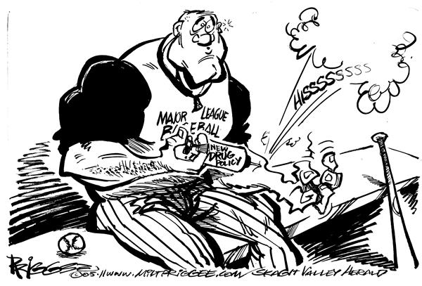 Milt Priggee - Skagit Valley Herald - hisss - English - steroids baseball major league drug policy