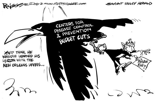 Milt Priggee - Skagit Valley Herald - avian levee - English -