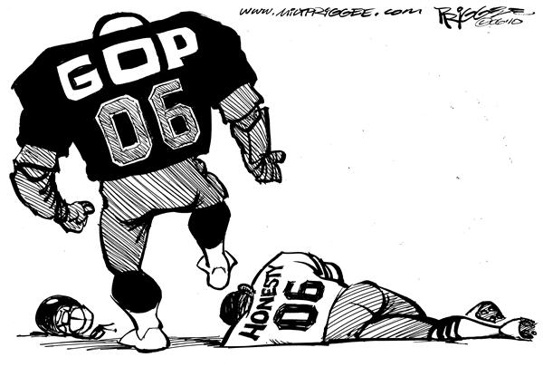 Milt Priggee - www.miltpriggee.com - GOP in the NFL - English - GOP NFL football ethics truth honesty sex scandals