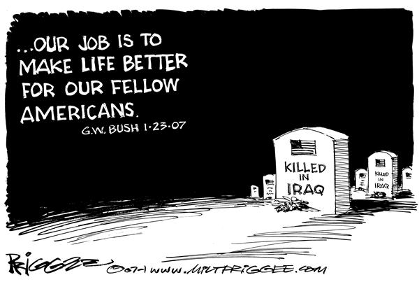 Milt Priggee - www.miltpriggee.com - Bush quote - English - bush job american iraq war grave life