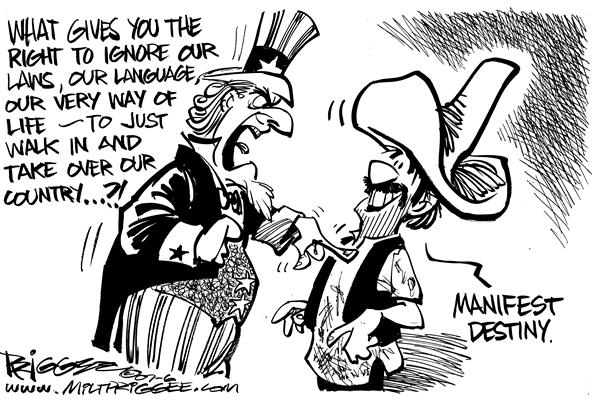 Milt Priggee - www.miltpriggee.com - immigration - English - immigration, uncle, sam, mexico, mexican, manifest, destiny, language, country,