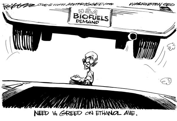 Milt Priggee - www.miltpriggee.com - Greed Vs Need - English - food biofuels, gas, prices, ethanol,