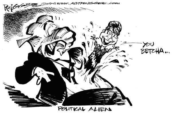 Milt Priggee - www.miltpriggee.com - Alien Palin - English - gop, palin, elephant, alien,