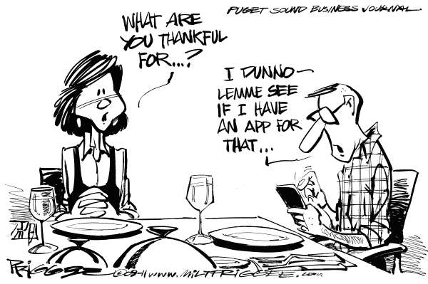Milt Priggee - Puget Sound Business Journal - Techful - English - apps, thanksgiving,