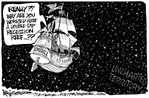 Milt Priggee - www.miltpriggee.com - Recession - English - america, recession, double-dip, reef, uncharted, territory, economy