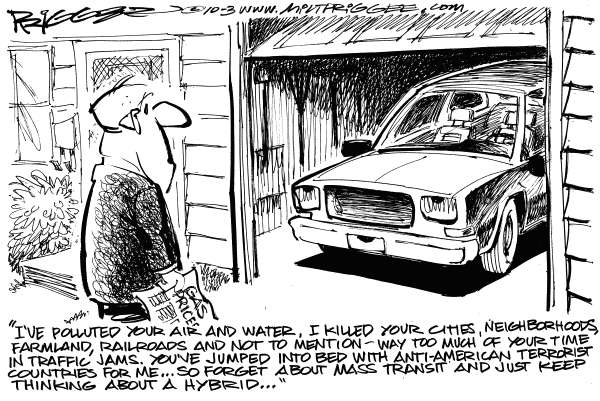 Car Culture © Milt Priggee,www.miltpriggee.com,gas, prices, cars, terrorists, cities, hybrids, mass transit
