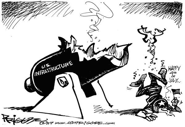Milt Priggee - www.miltpriggee.com - Infrastructure - English - us, infrastructure, fourth of july, economy, uncle sam