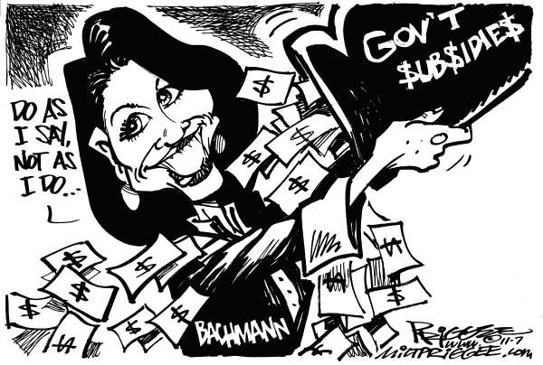 Milt Priggee - www.miltpriggee.com - Bachmann BS - English - Bachman, government, subsidies, president, 2012