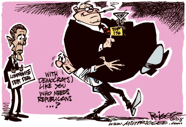 Milt Priggee - www.miltpriggee.com - With Democrats like you - English - obama, compromise, debt, deal, republicans, democrats, rich