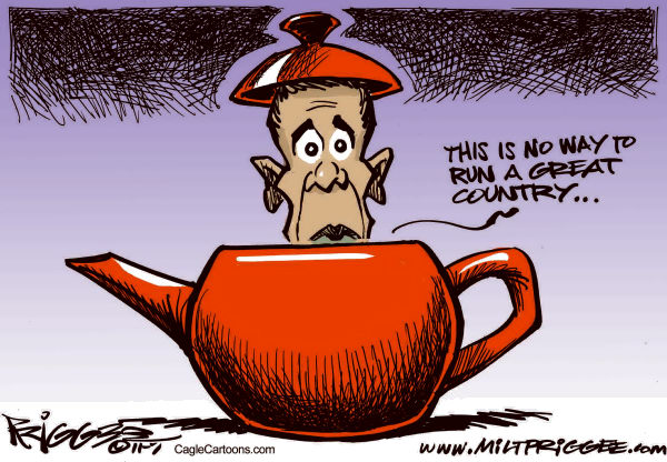 Milt Priggee - www.miltpriggee.com - Tea Potty - English - tea party, obama, economy, business, debt, deal