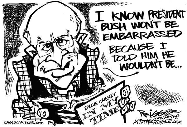 Milt Priggee - www.miltpriggee.com - Cheney time - English - Dick Cheney, book, president, bush