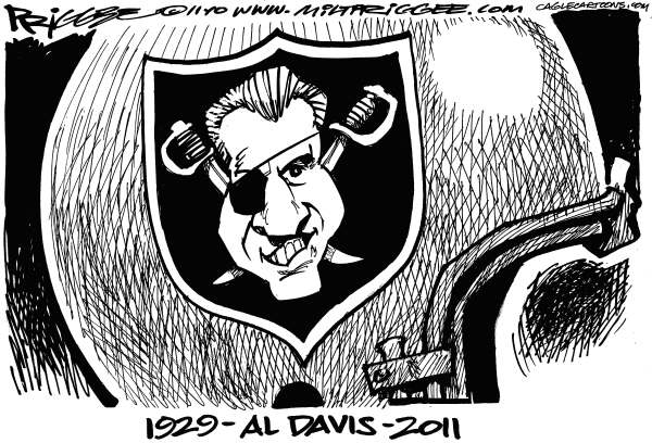 Milt Priggee - www.miltpriggee.com - Just Win Baby - English - Al Davis, Oakland, Raiders, sports, football, obit
