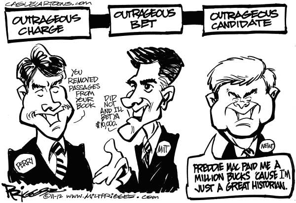 Milt Priggee - www.miltpriggee.com - Outrageous - English - rick perry, mitt romney, newt gingrich, outrageous, 10,000,gop, republicans, debate, book