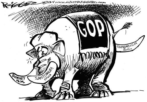 Milt Priggee - www.miltpriggee.com - Gingrich coming out party - English - Mitt Romney Rick Santorum, Newt Gingrich, gop, conservative, republicans