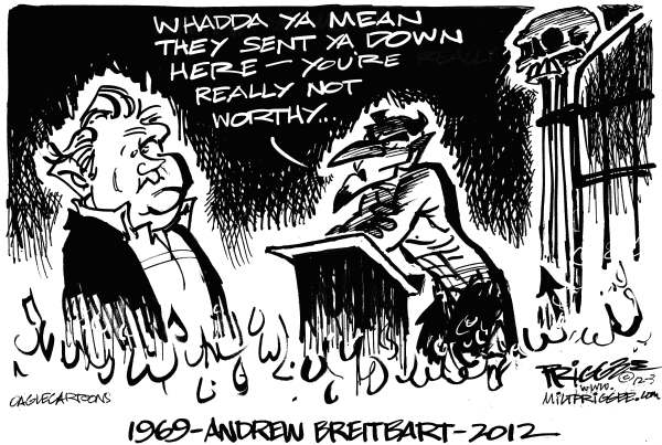 Milt Priggee - www.miltpriggee.com - Andrew Breitbart - English - Andrew Breitbart, gop, conservative, republican, obit