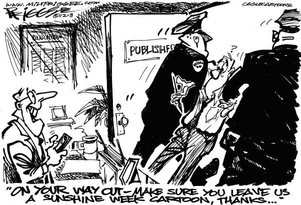 Sunshine Week 2 © Milt Priggee,www.miltpriggee.com,sunshine week, publisher, editorial cartoonist, cartoon