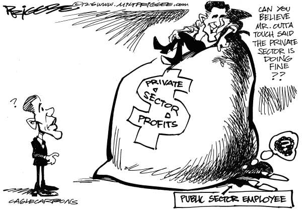 Milt Priggee - www.miltpriggee.com - Private Sector - English - obama, mitt romney, private sector, public, profits, president, 2012