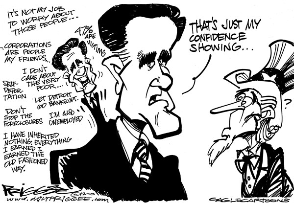 Milt Priggee - www.miltpriggee.com - Romney confidence - English - Romney, America, 47, very poor, Uncle Sam, confidence, self-deportation