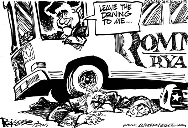 Milt Priggee - www.miltpriggee.com - Romney Bus - English - Mitt Romney, president, 2012, america, united states, gop, republican,