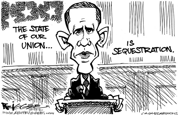 Milt Priggee - www.miltpriggee.com - State of Sequestration - English - state, union, sequestration, economy
